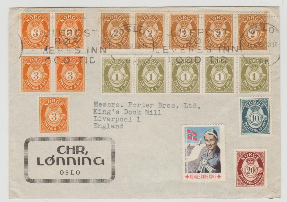 NORWAY MULTI-FRANKED COVER WITH RED CROSS LABEL