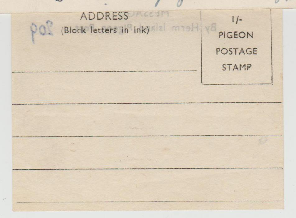 CHANNEL ISLANDS WW2 PIGEONGRAM FOR HERM