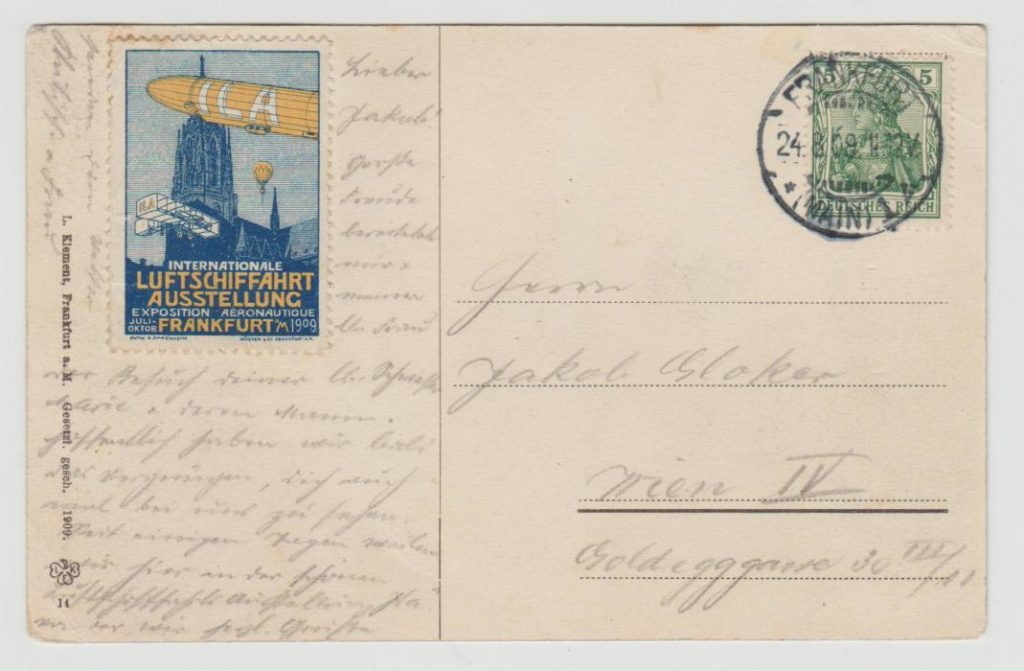 Germany 1909 Zeppelin PPC with exhibition label