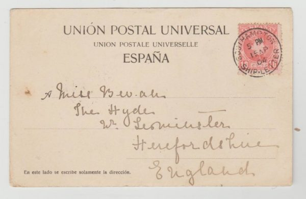 Southampton Ship Letter 1904 on 10c Spain on postcard of Las Palmas