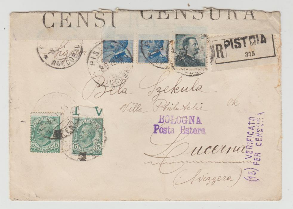 Italy to Switzerland 1915 Censored