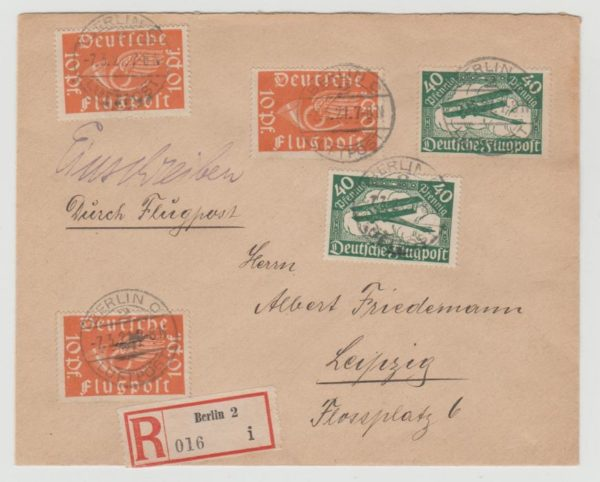 Germany Registered Airmail 1921