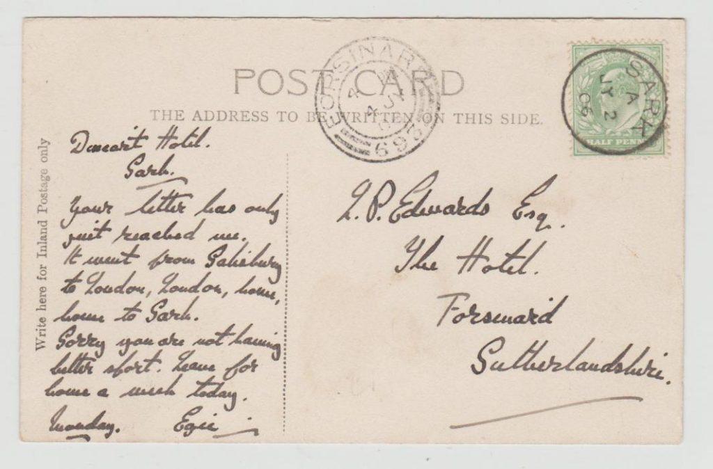 Postcard from Sark to Scotland