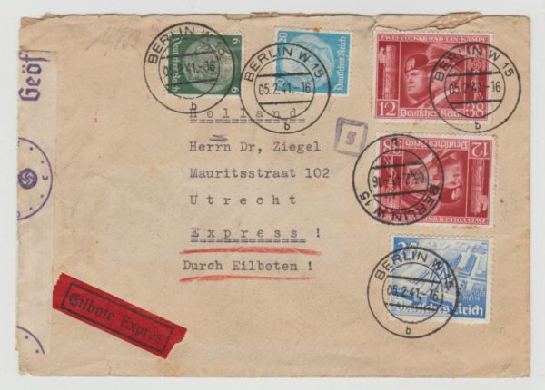 Berlin to Holland express 1941 censored