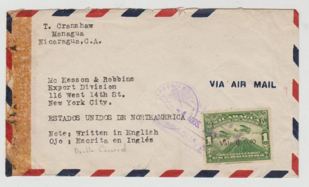Nicaragua double censorship to USA 1943