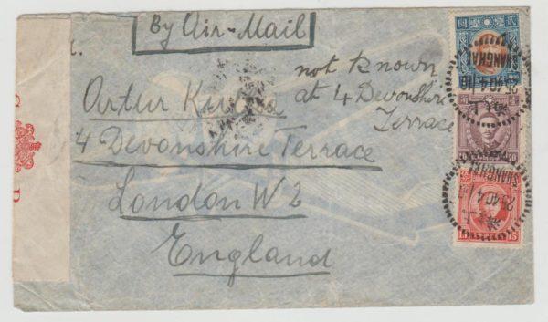 Shanghai to London 1940 with Hong Kong censor