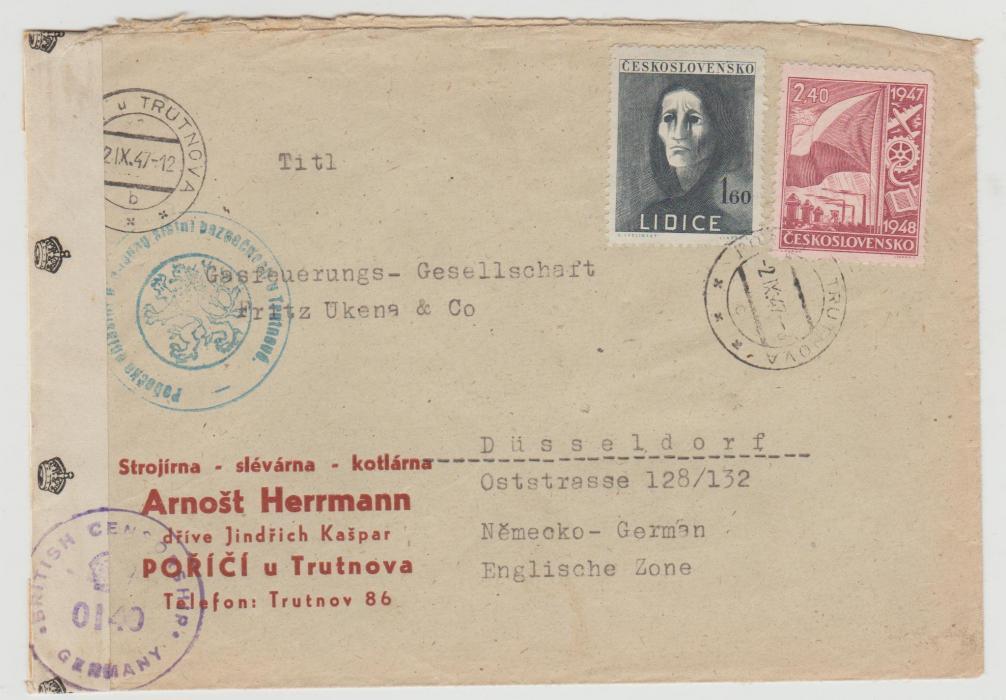 Czechoslovakia to British Zone of Occupied Germany