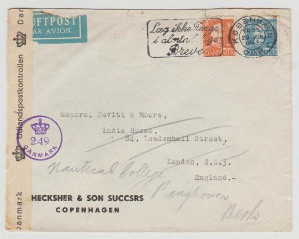 Denmark to England 1945 censored