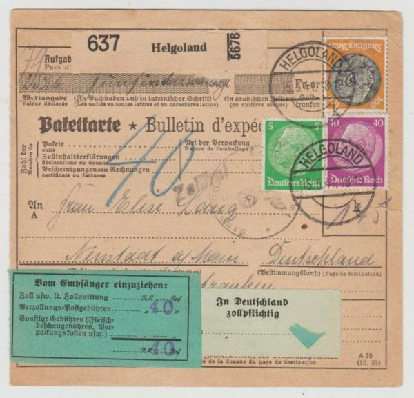 Parcel card from Heligoland May 1941