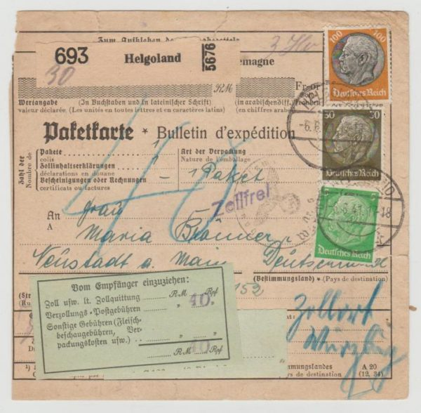 Parcel card from Heligoland 1941