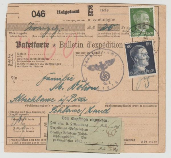 Parcel card from Heligoland