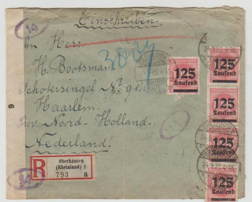 1923 German inflation registered envelope to Holland