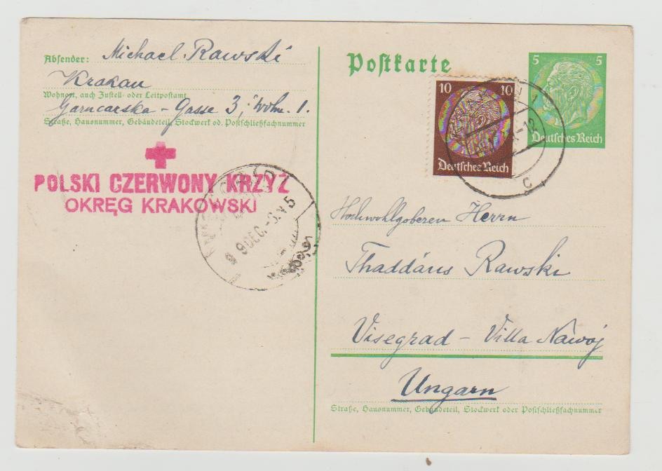 1939 Occupied Poland Red Cross to Hungary