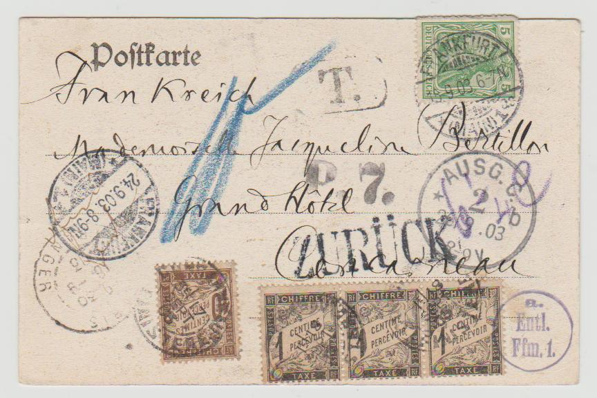 1903 Germany unperpaid with French postage due