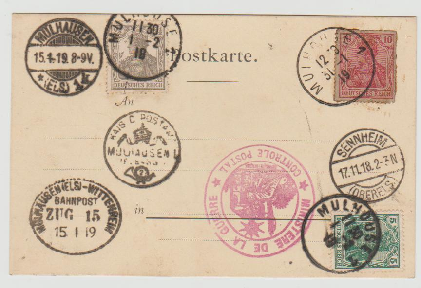 1919 Alsace souvenir postal card