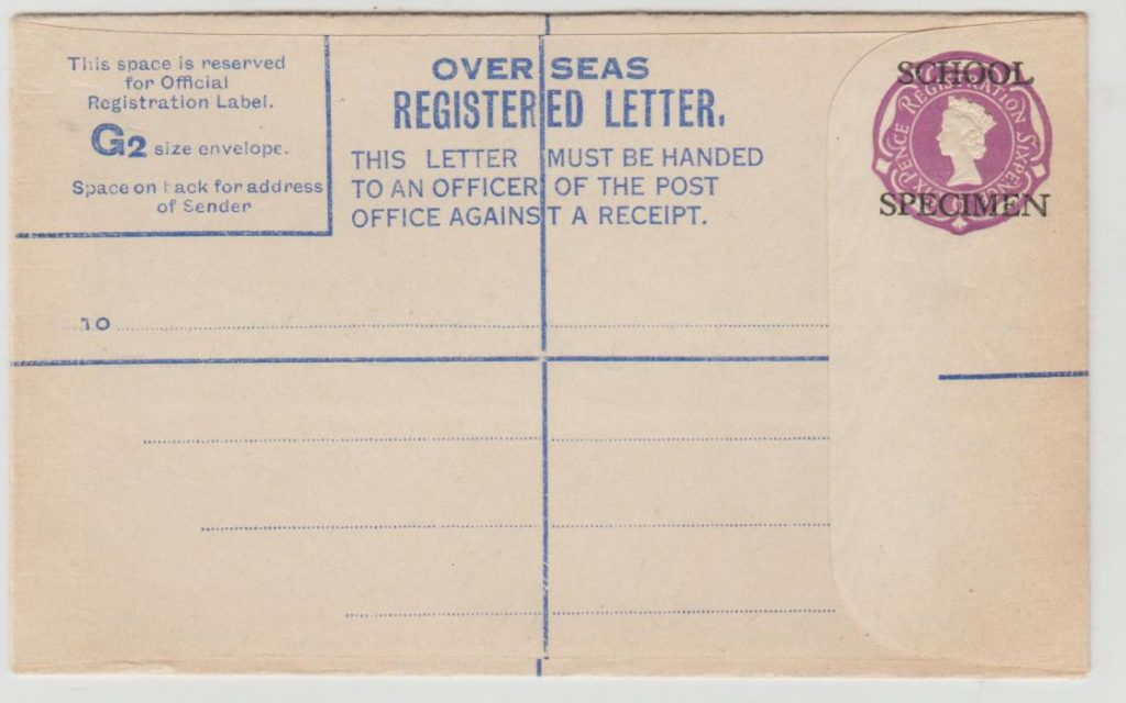 GB registered letter specimen