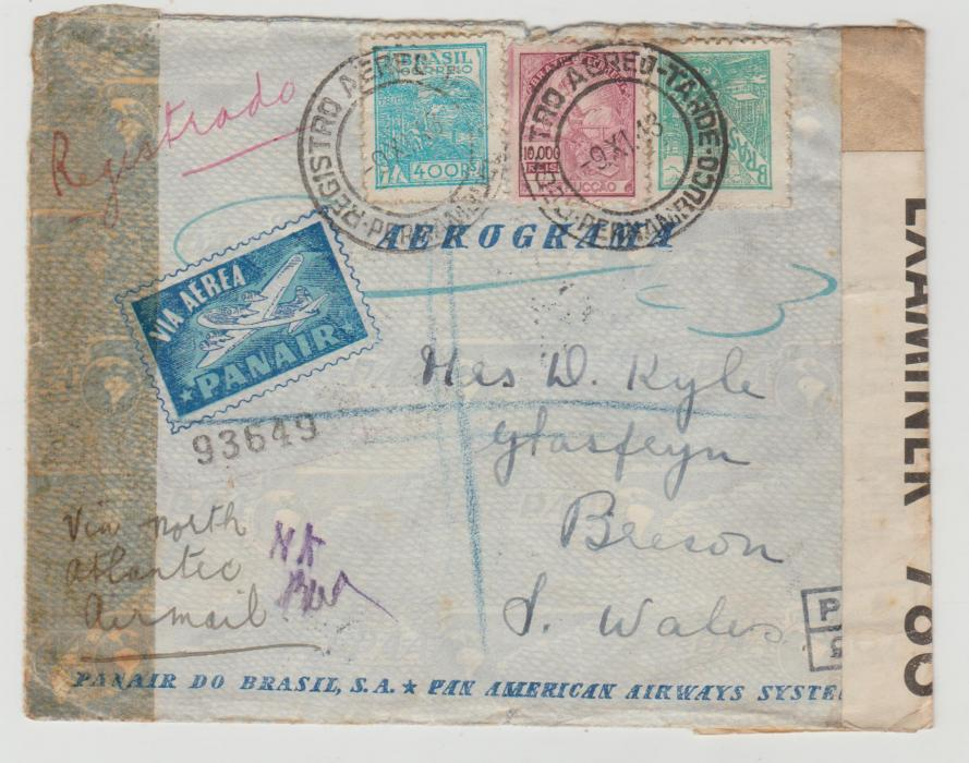 Brazil to Wales double censorship 1943