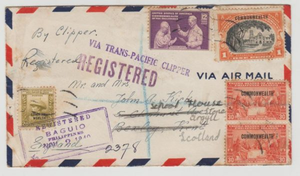 Philippines registered airmail 1940