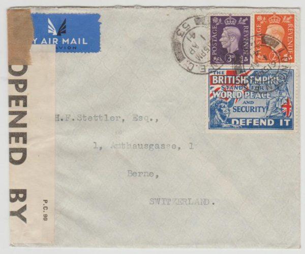 GB to Berne 1941 censored + label