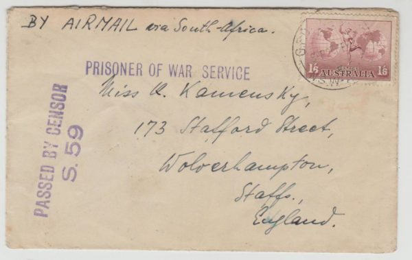 German POW in Australia to GB 1941
