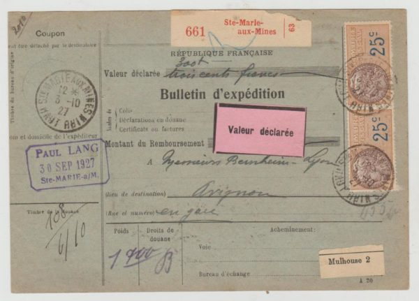 France money order card from Alsace 1927