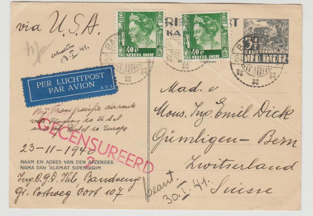 Netherland Indies to Switzerland 1940