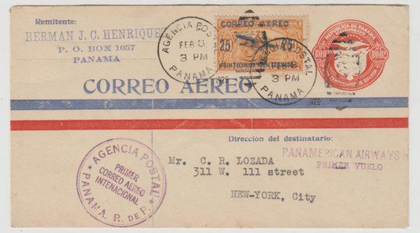 Panama first flight to New York 1929