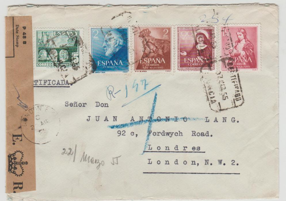 Spain to London 1955 resealed by Post Office