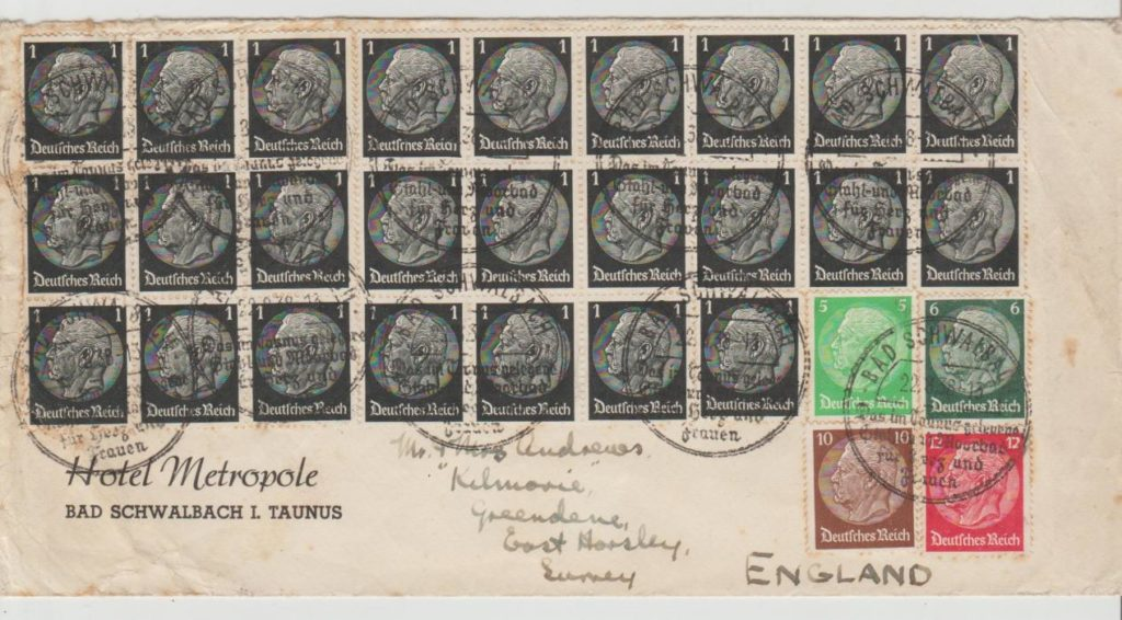Germany multi-franked with Hindenburg head issues to GB 1938
